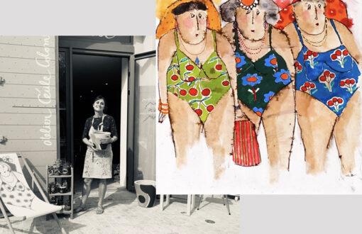 Portrait de Cécile Colombo - peinture de baigneuses en maillots réalisé par l'artiste