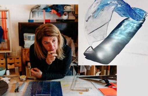 Cédrine Lixon - portrait de l'artiste à l'atelier