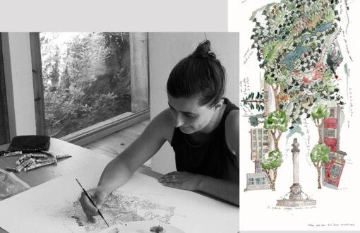 Amandine Maria - portrait de l'artiste à l'atelier