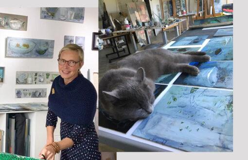Perrine Rabouin - portrait de l'artiste à l'atelier