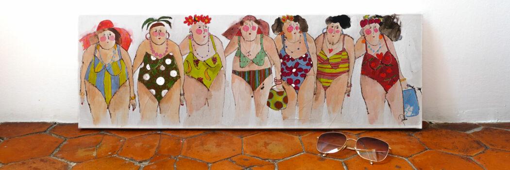Peinture technique mixte - baigneuses en maillots - Cécile Colombo - vue situation