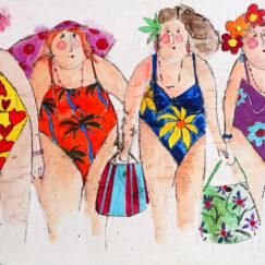Peinture technique mixte - baigneuses en maillots - Cécile Colombo - œuvre détourée