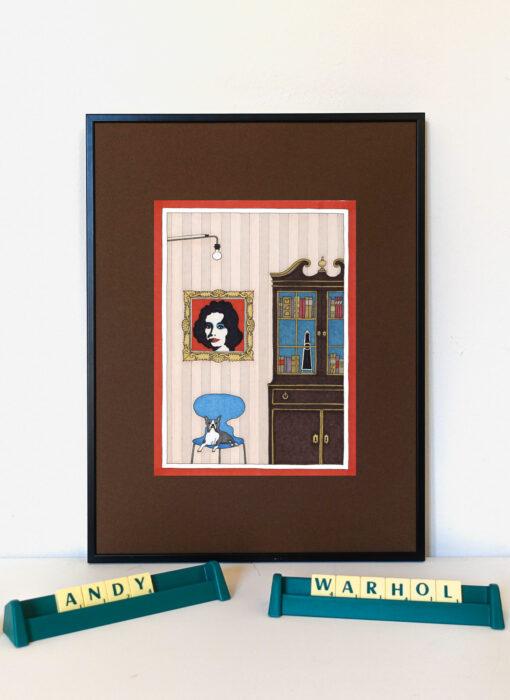 Andy Warhol & le bouledogue français - Damien Nicolas Roux - artiste contemporain