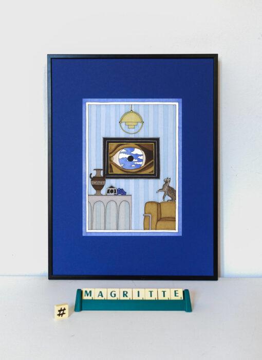 René Magritte & le chat perché - Damien Nicolas Roux - artiste contemporain