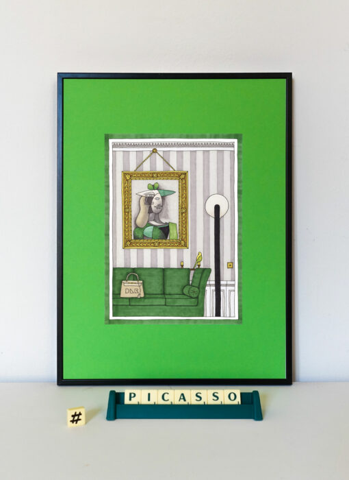 Pablo Picasso & la perruche - Damien Nicolas Roux - tableau contemporain