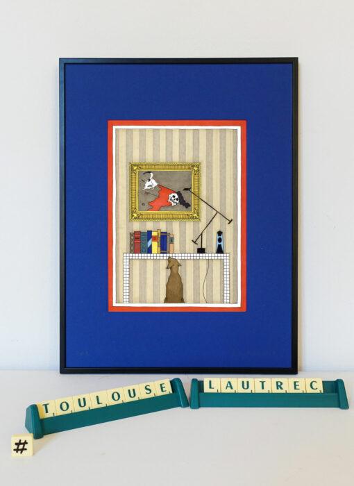 Toulouse Lautrec & le chien assis - Damien Nicolas Roux - tableau contemporain