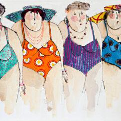 Peinture technique mixte - baigneuses en maillots - Cécile Colombo - œuvre contemporaine
